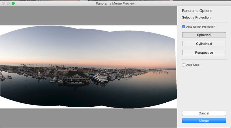 stiching pictures into a Panorama in Lightroom